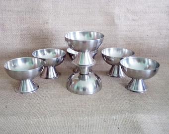 Vintage Set of 7 Metal Bowls, Stainless metal Bowls of 1970, Vintage Kitchen, Ice Cream Metal Bowls, metal dessert bowls, Stainless Steel