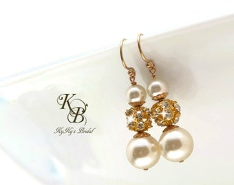 Gold Bridal Earrings Pearl Bridal Earrings Pearl and Rhinestone Earrings Wedding Jewellery Bridal Jewelry Pageant Jewelry Pearl Earring