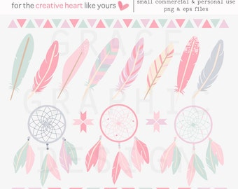 Boho Tribal Clipart Set, Feather Clipart, Dreamcatcher Clipart, Tribal Border Clipart, Commercial Use Clipart Set, Pink Boho Feather Clipart