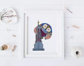 Empire Owl, Watercolor Art Print