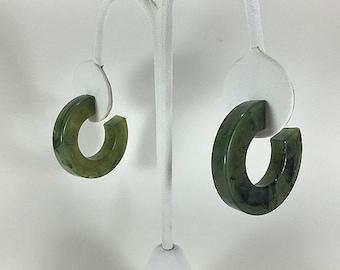 Green Earrings, Hoop Earrings, Jade Green Earrings, Mod Earrings, Swirl Earrings, Speckle Earrings, Marbled Earrings, Post Earrings, Boho