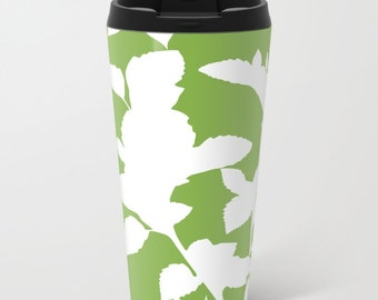 Botanical Metal Travel Mug - Green Stainless Steel Travel Mug With Lid - Gift For Women - Aldari Home