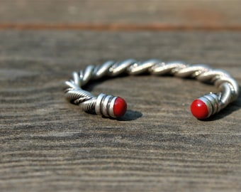 Antique Sterling Silver Cuff Bracelet with Ruby Red Accents