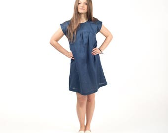 Linen dress - short dress - linen clothing - day dress - tunic dress - blue - Handmade - Custom made