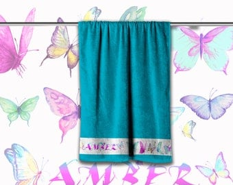 Personalised Towel -  Watercolour  butterfly design with Name of choice