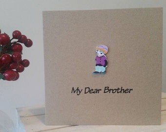 Brother Birthday Card Brother - Little Brother Card - Young Boy Card - Happy Birthday Bro - Handmade Card Kraft Card Special Brother