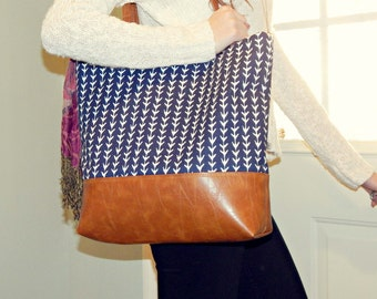 Vegan leather tote, large tote bag, womens tote, tote bag, Charleston tote,ready to ship