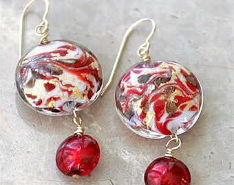 "Murano Italian Glass Red Gold Dangle Earrings - 2"""