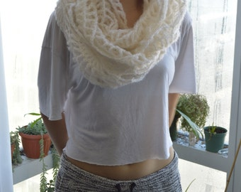 crochet lace mohair infinity scarf
