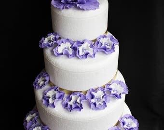 Lavender wedding cake flowers, 13pcs Xl Peony Fondant flowers edible cake topper decorations vintage birthday bridal baby shower