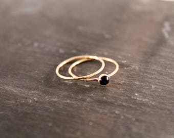 Onyx Thin Gemstone & Plain  Stacking Ring Set - TWO RINGS - (Rose Gold Sterling Silver Black Stacking Rings Gifts Under 50)