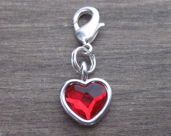 Red Crystal Heart Charm - Silver - Pet Collar Charm - Dog Cat Bridle Charm