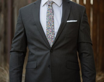 Floral skinny tie with grey, white, pink, and yellow