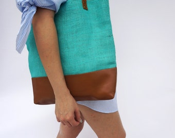 SALE 15%Burlap Tote, Vegan Leather Tote, Leather Strap, Burlap Shoulder Bag, Brown Leather Tote, Aqua Blue Bag, Christmas Gift, Gift For her