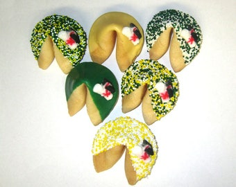 50 GRADUATION Green, Yellow & White Fortune Cookies, Achievement, Cap and Scroll, Congratulations Gift
