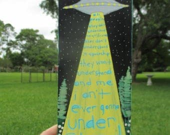 the strokes last nite lyrics painting on reclaimed wood, the strokes band, lyrics painting, rock lyrics art, alien space ship, the strokes