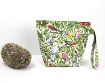 Australian birds snap knitting project bag, parrot sock project bag, zipperless storage bag