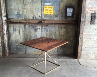 Modern Geometric Dining Table with Brass Base and Solid Walnut Top