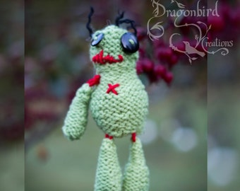 Voodoo Doll Ornament, Knit Voodoo Doll, Zombie Doll, Zombie Ornament, Knit Zombie, Gross Ornament, Creepy Christmas Ornament