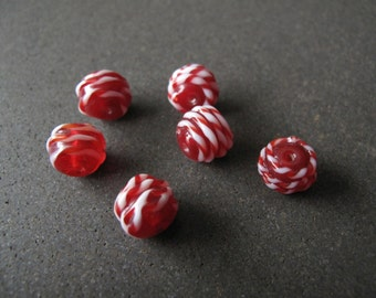 6pcs Red Lampwork Beads With Red and White Candy Stripe Twist 10mm - B-01RP-143