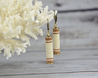 Bridal Earrings Wedding earrings Beige earrings for women bridal jewelry Beaded earrings dangle earrings Tube earrings Seed Bead Earrings