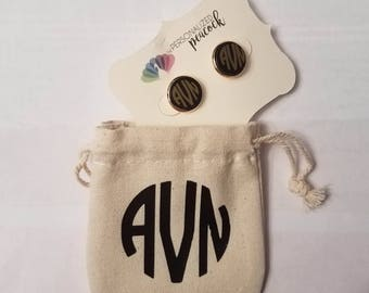 Personalized Monogram Bezel Earrings with Canvas Pouch