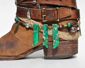 Green Jasper Stone Beaded Boot Bracelet
