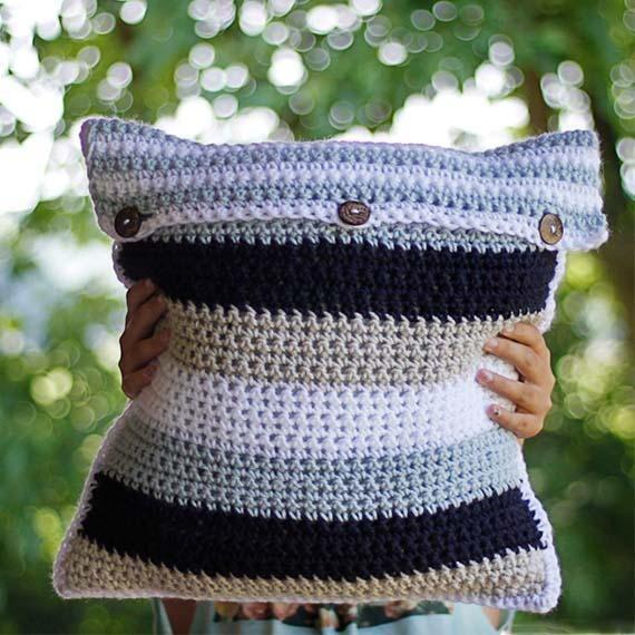 PDF Crochet Pattern - Striped Pillow