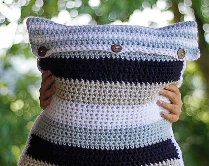 PDF Crochet Pattern - Striped Pillow