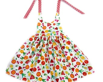 12 to 18 month fruit print halter dress toddler dress toddler girls sun dress toddler sundress