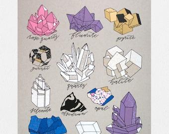 Crystals & Minerals - 11 x 14 Screen Print
