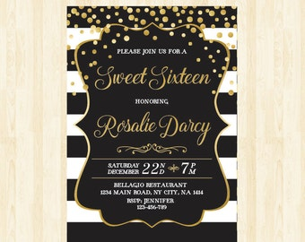 sweet 16 invitation 16th birthday invite  sweet sixteen invitation quinceañera printable invitation black and white invite gold confetti 231