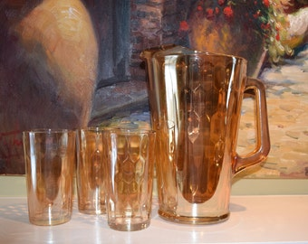 Jeannette Glass Carnival Pitcher and 3 Glasses Honeycomb Pattern
