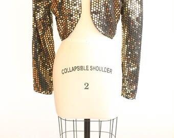 gold sequins jacket by brass plum for nordstrom vintage 1980s