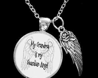 Grandma Angel Necklace, My Grandma Is My Guardian Angel Wing Memory Sympathy Gift Remembrance Memorial Necklace