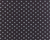 Gray & Black Valentines Day Heart Fabric, Moda Ever After 19746 17 Deb Strain, Black and Gray Hearts Valentine Quilt Fabric, Cotton