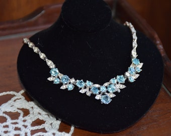 Beautiful Vintage Bogoff Rhodium Necklace with Light Blue Stones and Clear Accents