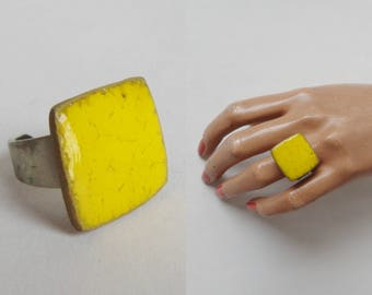 Yellow 60s Ceramic Ring // Adjustable