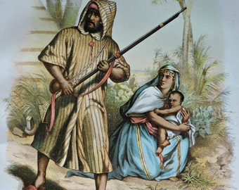 Arabs.  Antique illustration 137 years old. 1880 lithograph. 8'46 x 12'05 inches.