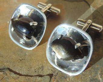 AEM ~ Vintage Sterling Silver and Obsidian Toggle Concave Cuff Links c. 1950's