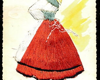 1960s Asturias Dancer with Embroidered Skirt Postcard