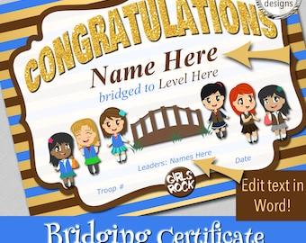 "Bridging Certificate, 8.5x11"", Blue to Brown Vest, Instant Download, Word & PDF Format"