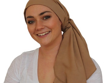 Carlee Pre-Tied Head Scarf, Women's Cancer Headwear, Chemo Scarf, Alopecia Hat, Head Wrap, Head Cover for Hair Loss - Khaki