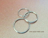 14k WHITE Gold Nose Ring, Cartilage, Lobe, Etc. - Solid Gold, NOT Plated or Filled - 20, 22 or 24 Gauge Small Endless Hoop - Made in the USA