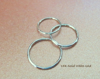14k WHITE Gold Nose Ring, Cartilage, Lobe, Etc. - Solid Gold, NOT Plated or Filled - 20, 22, 24, or 26 Gauge Small Endless Hoop, Made in USA