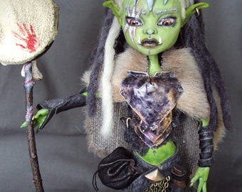 Monster High Repaint custom OOAK Orc shaman warrior Abbey Bominable