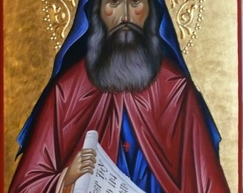 Icon of St. Silouan the Athonite, Holy Father Silouan, icon hand painted, orthodox icon, Icon paint, Byzantine, orthodox gift, iconography