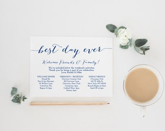 Weekend itinerary etsy printable navy wedding itinerary template wedding weekend itinerary wedding timeline destination wedding itinerary pronofoot35fo Images