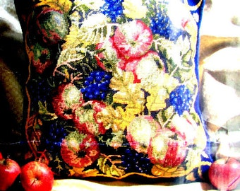 NEEDLEPOINT CANVAS//Printed Canvas/a Primavera/Needlepoint*Canvas Only/Fruit Design/Ideal for a Cushion or Footstool.//On Salel!