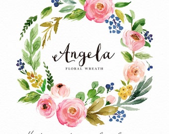 Watercolor flower wreath clipart-Angela/Hand Painted/Wedding design